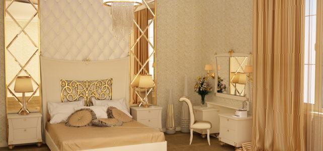 Золотой цвет в спальне